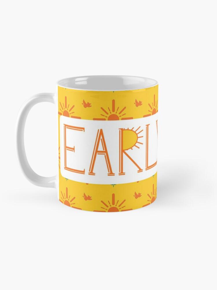 Alternate view of Early Bird Phrase with Main Pattern Mug