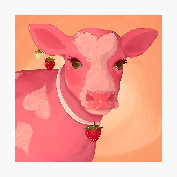 look at u strawberry cow !! make me go WOW Photographic Print
