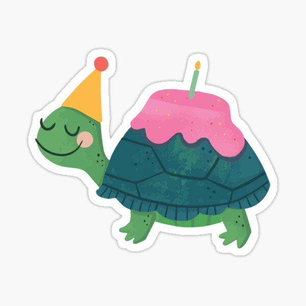Turtle-y Awesome Bday Sticker