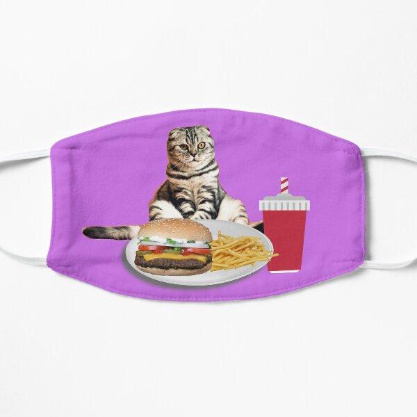 Lustige Katze Burger Pommes Fast Food Mahlzeit Flache Maske