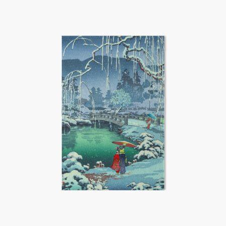 "Japanese Woodblock Print Ukiyo-e - ""Spring Snow at Maruyama, Kyoto"" by Tsuchiya Koitsu Art Board Print"