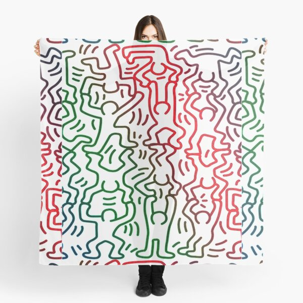 keith haring t shirt, , colorful, cute, green, lgbtq, pop art, 80s, artist, happy, red, retro, trendy, aesthetic, andy, blue, colors, lgbt, new york Scarf