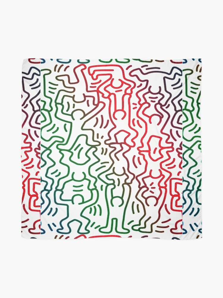 Alternate view of keith haring t shirt, , colorful, cute, green, lgbtq, pop art, 80s, artist, happy, red, retro, trendy, aesthetic, andy, blue, colors, lgbt, new york Scarf