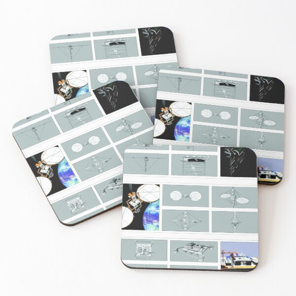 Space Elevator Triptych Coasters (Set of 4)