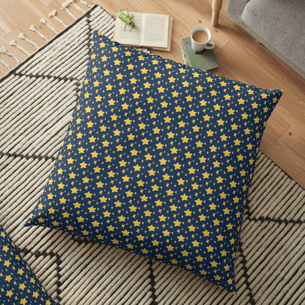 Night Owls, Sub Pattern (Blue Stars) Floor Pillow
