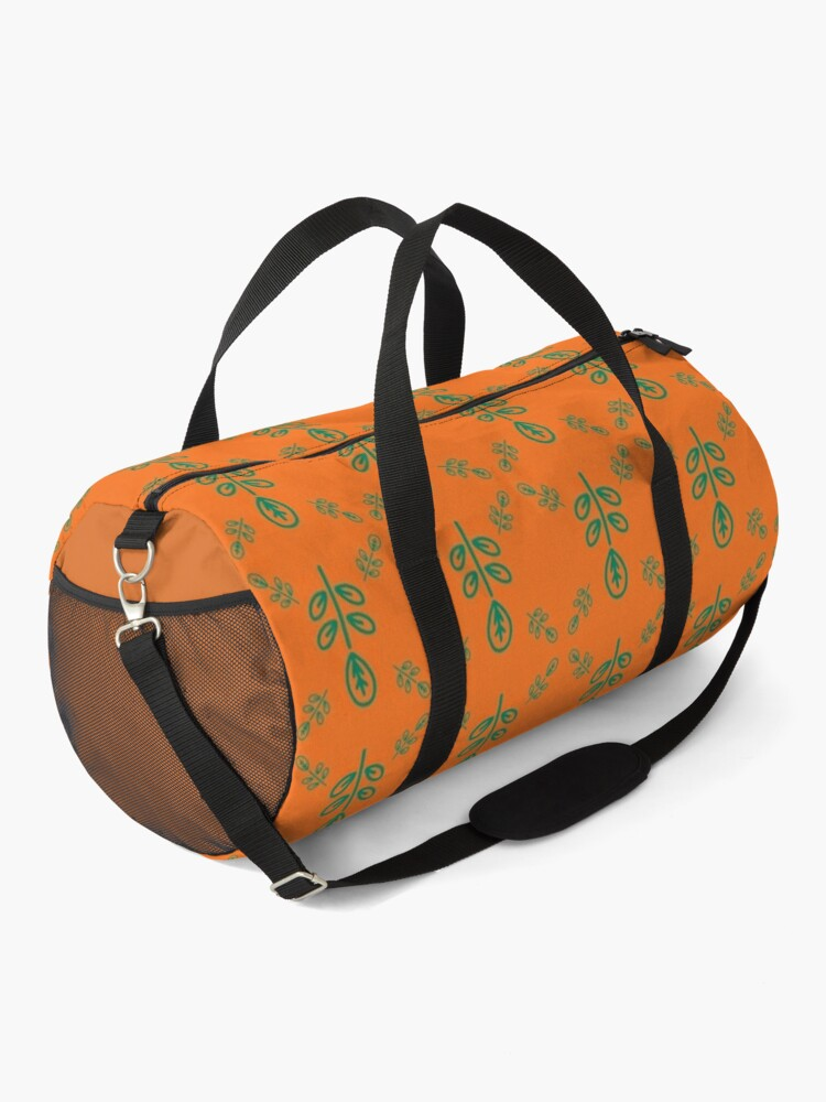 Alternate view of Early Bird, Sub Pattern (Leaf Orange) Duffle Bag