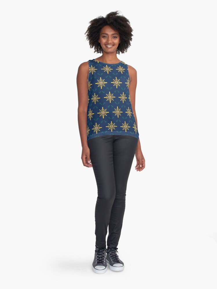 Alternate view of I am a Night Owl Doomed to the Life of an Early Bird, Main Pattern (Blue) Sleeveless Top