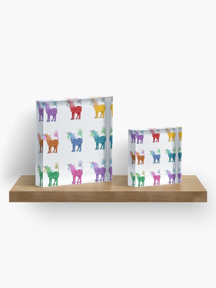 Alternate view of Mystical Magical Unicorns Multi Colored Acrylic Block