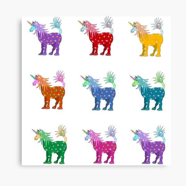 Mystical Magical Unicorns Multi Colored Canvas Print