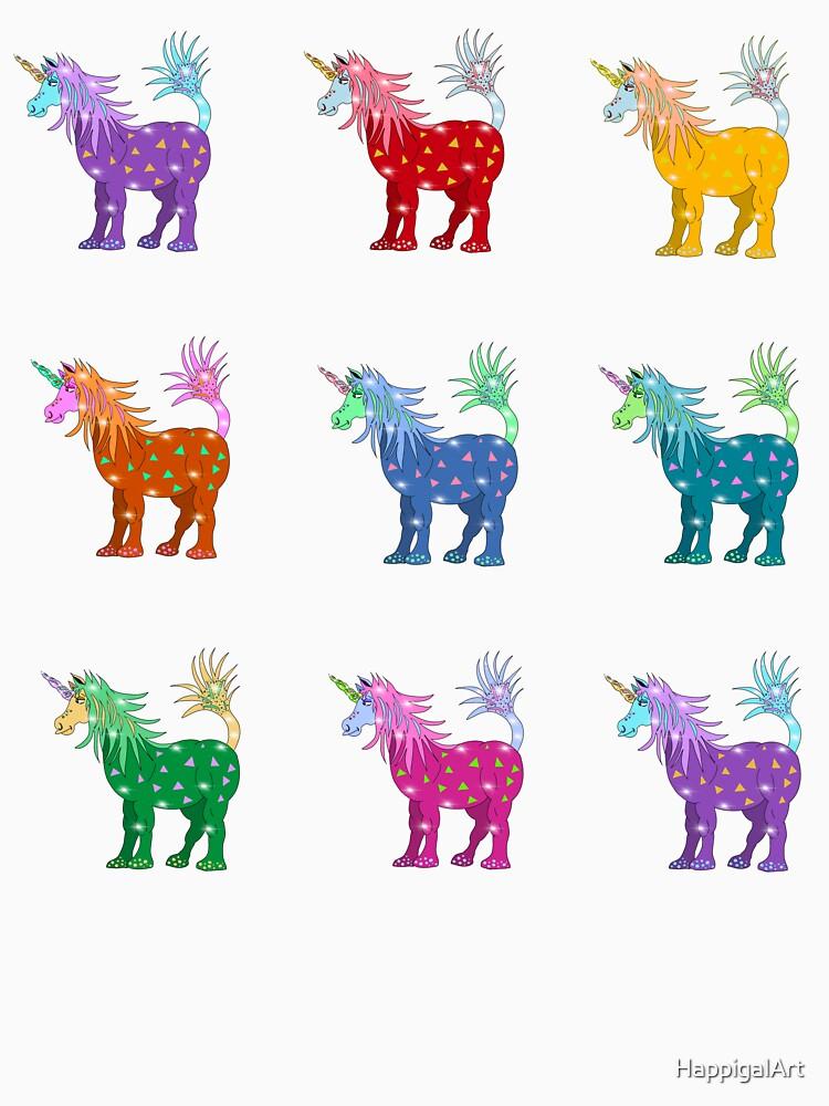Mystical Magical Unicorns Multi Colored by HappigalArt