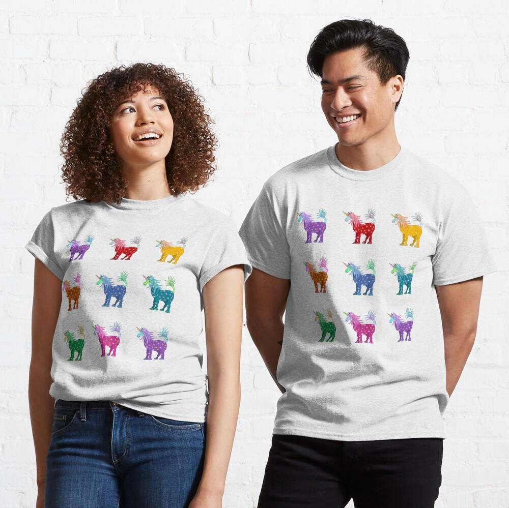 Mystical Magical Unicorns Multi Colored Classic T-Shirt