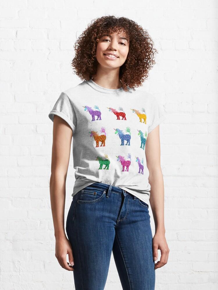Alternate view of Mystical Magical Unicorns Multi Colored Classic T-Shirt