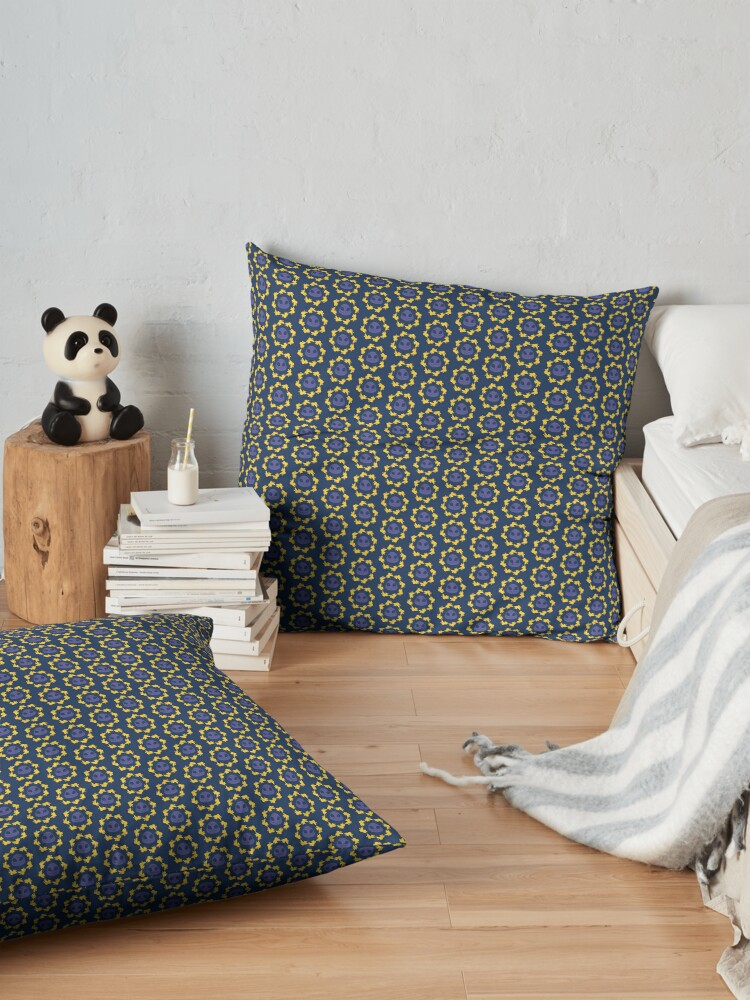 Alternate view of I am a Night Owl Doomed to the Life of an Early Bird, Sub Pattern (Blue) Floor Pillow