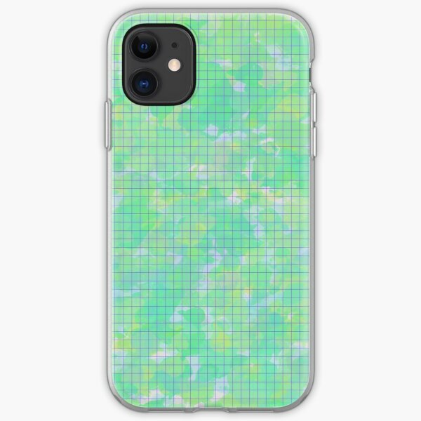 Green with purple grid  iPhone Soft Case