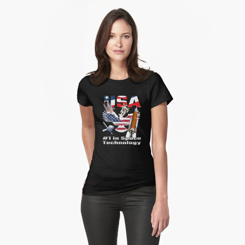 USA #1 in Space Technology Fitted T-Shirt