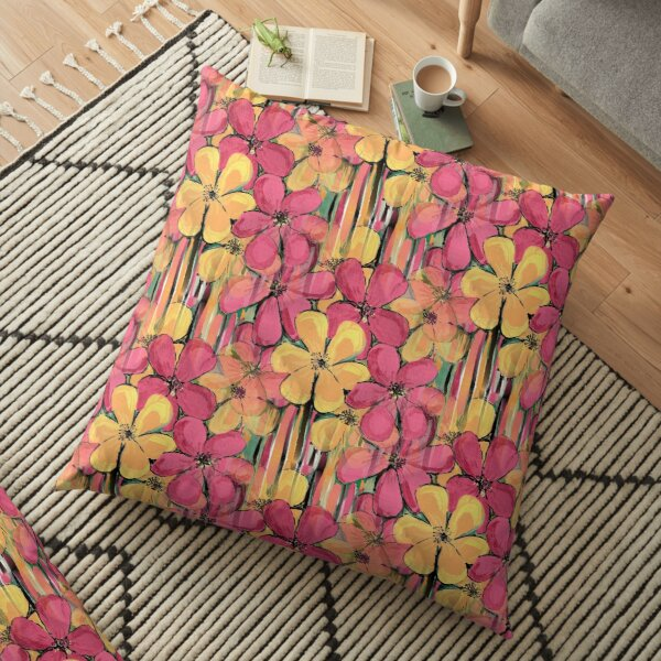 Flowers and stripes Floor Pillow