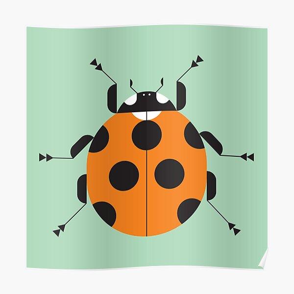 Nature: Ladybug Green Square Poster
