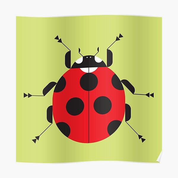 Nature: Ladybug Yellow Square Poster