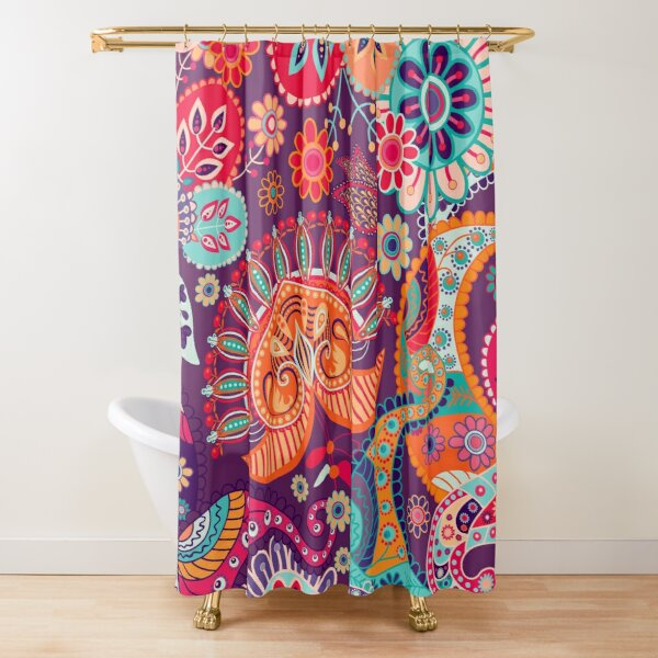 Stylized Flowers Images Shower Curtain