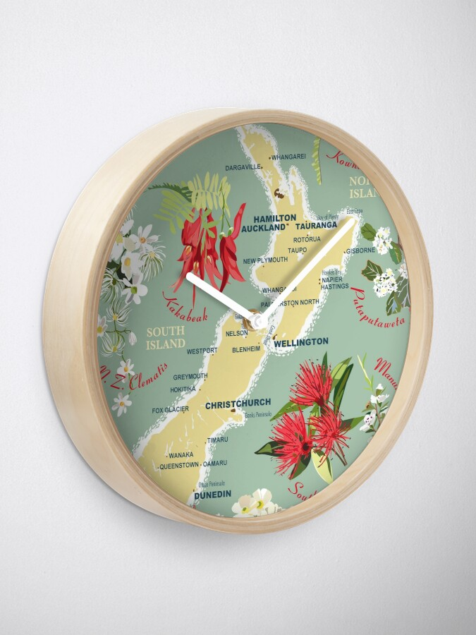 Alternate view of New Zealand Floral Map Clock