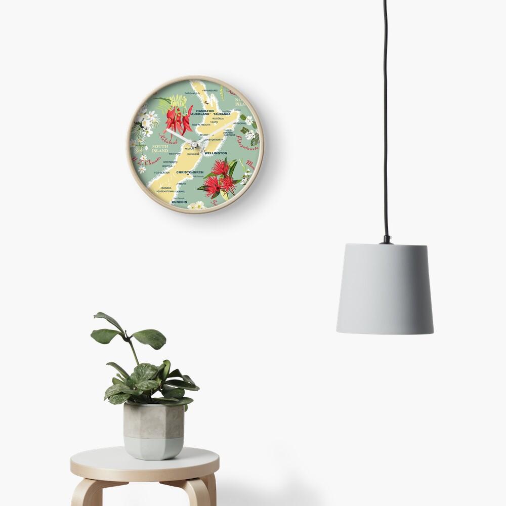 New Zealand Floral Map Clock