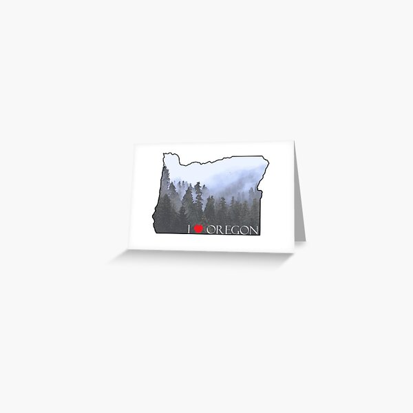 I Love Oregon State Outline Foggy Forest Greeting Card
