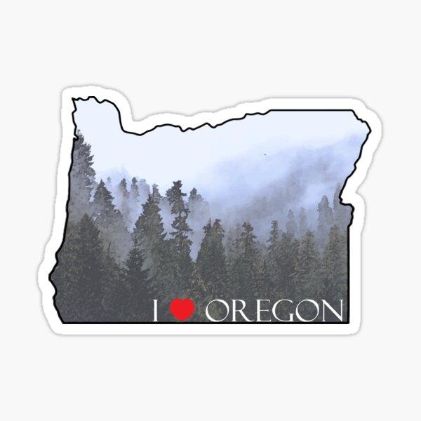 I Love Oregon State Outline Foggy Forest Sticker