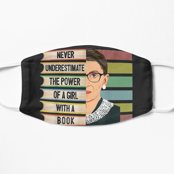 Feminist Ruth Bader Ginsburg Rbg Quote Girl With Book Women Flat Mask