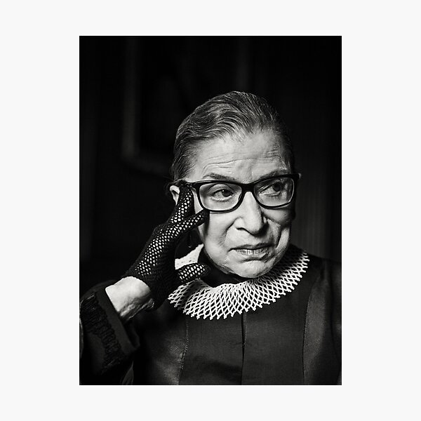 Ruth Bader Ginsburg RIP blanco y negro rbg Lámina fotográfica
