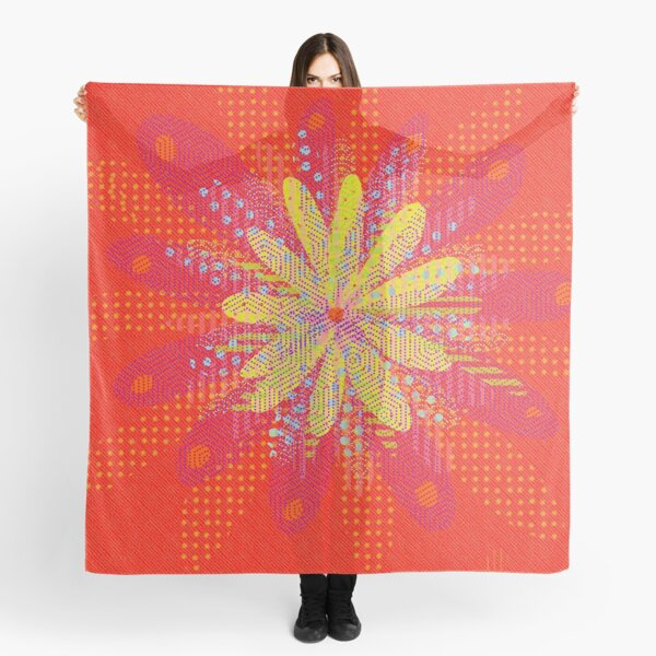 Retro Red and yellow  flower power Scarf
