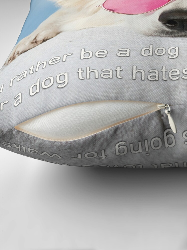 Alternate view of Loves Glasses or Hates Walks Throw Pillow