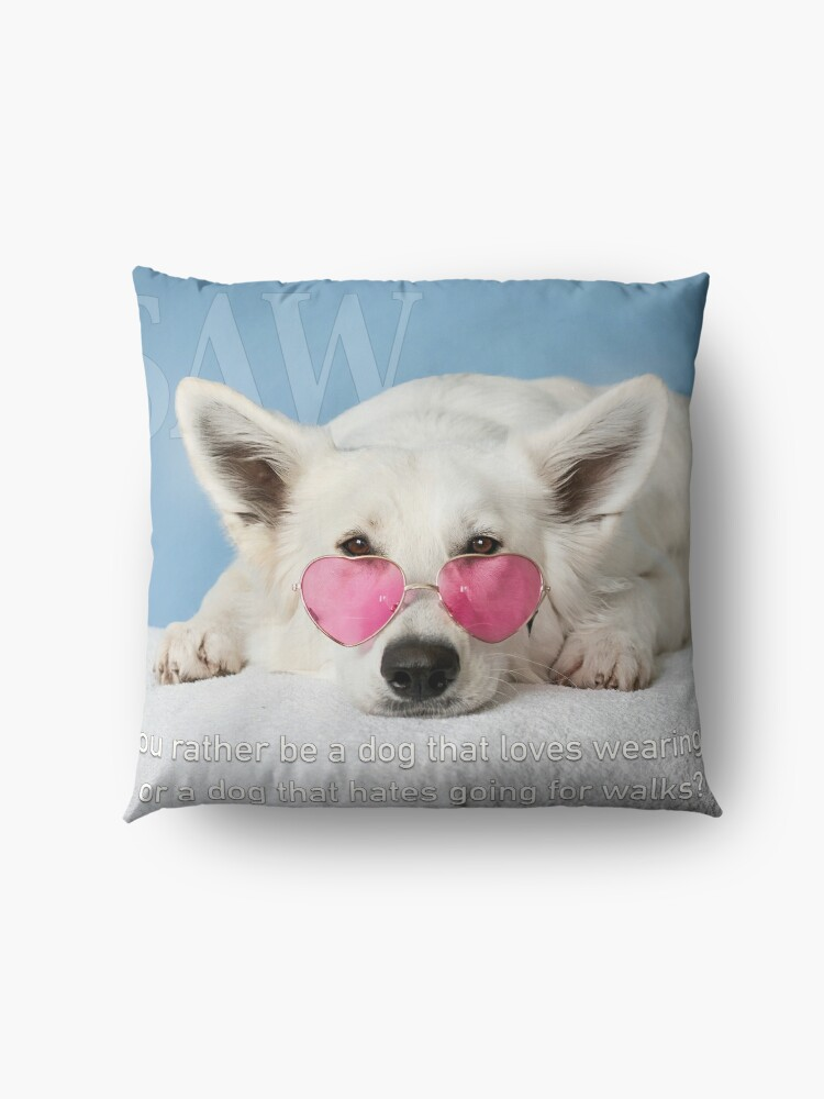 Alternate view of Loves Glasses or Hates Walks Floor Pillow