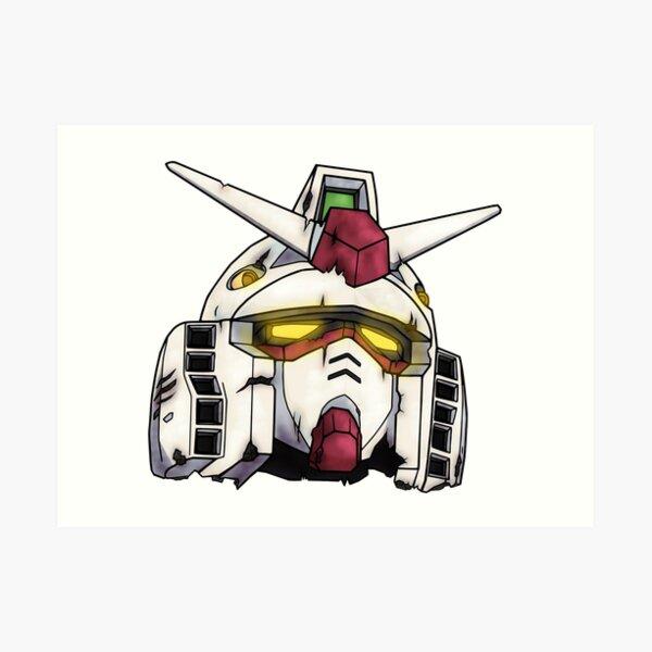Gundam RX-78-2 Weathered Head Design Art Print