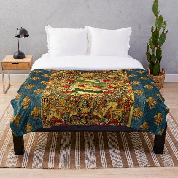 SEASONS AND ELEMENTS, AIR AND JUPITER, LOUIS XIV French Royal Embroidery Tapestry   Throw Blanket