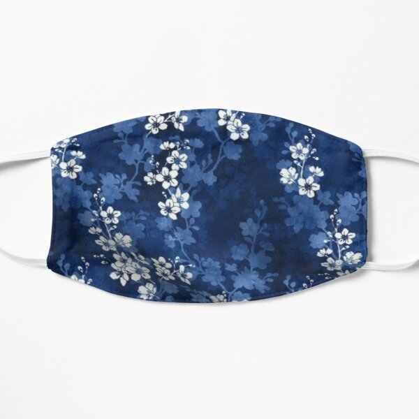 Sakura blossom in deep blue Mask Flat Mask