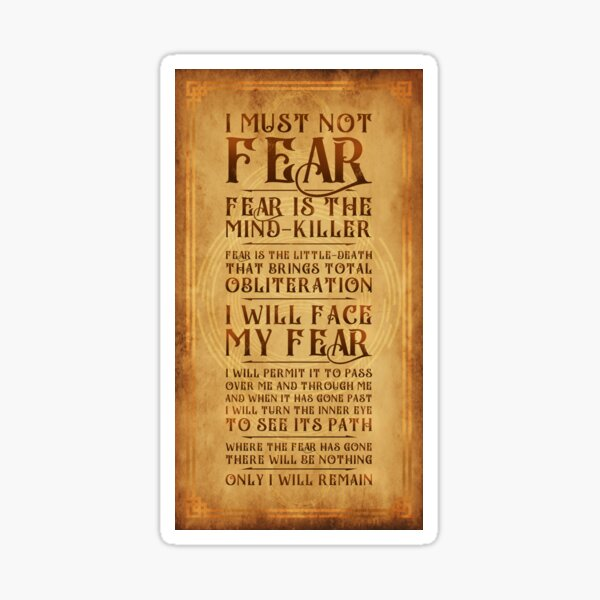 The Litany Against Fear v2 Sticker