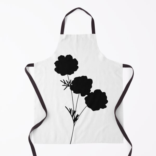 black flower with white background (1) Apron