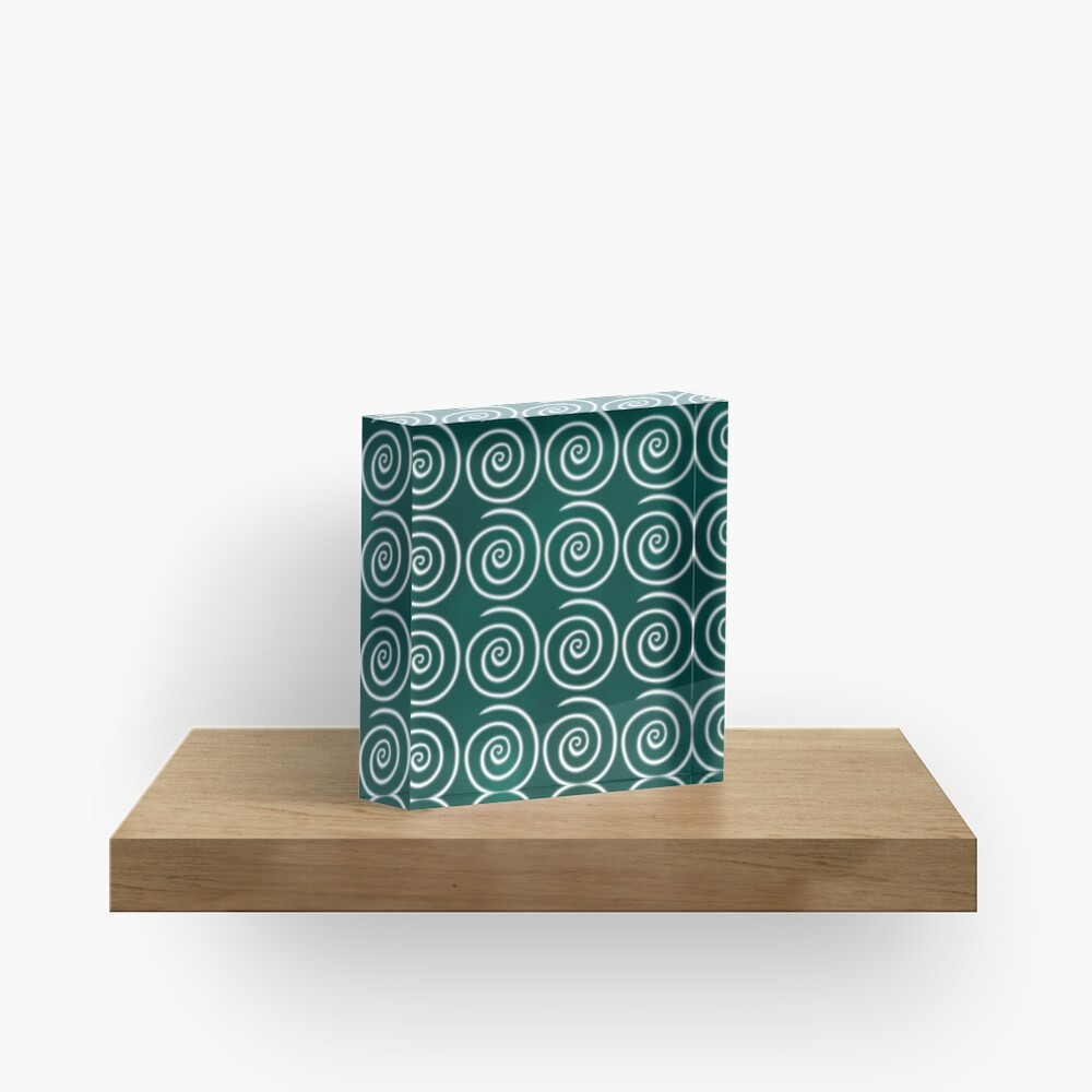 Green Swirls Acrylic Block
