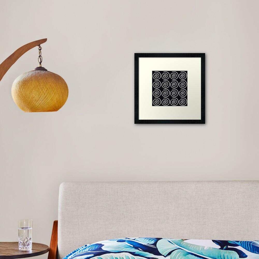 Black Swirls Framed Art Print