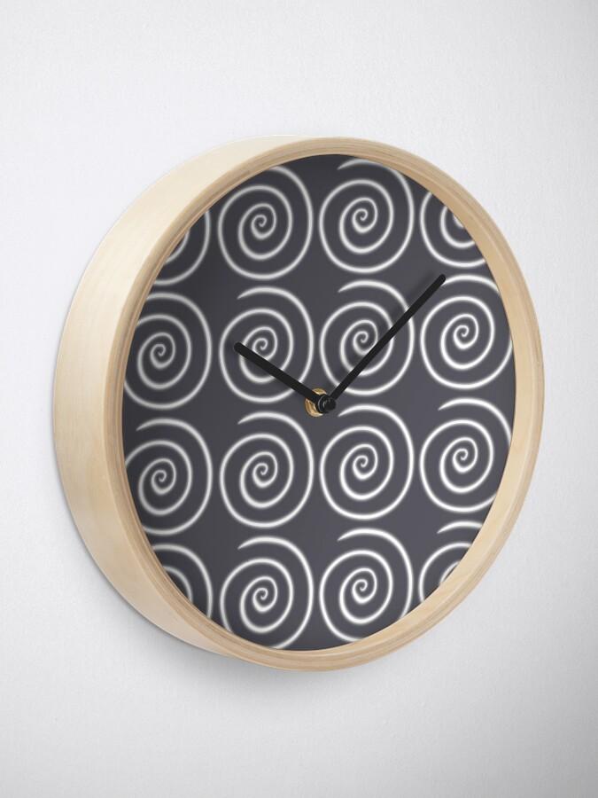 Alternate view of Grey Gray Swirls Clock