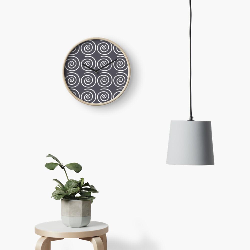 Grey Gray Swirls Clock