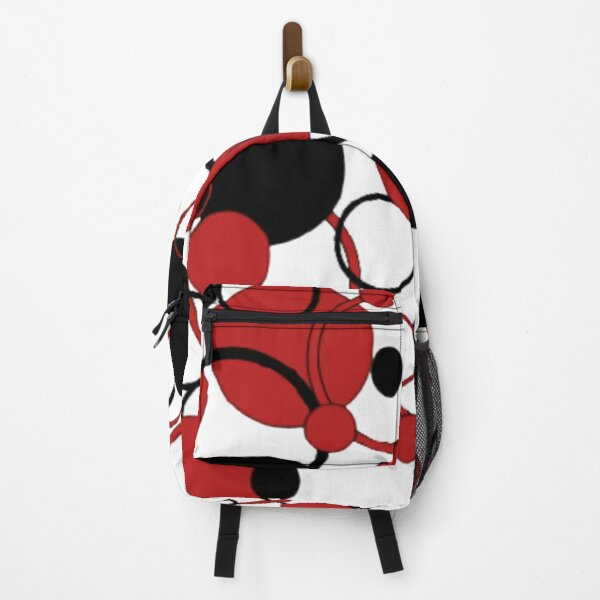 black and red circle pattern Backpack