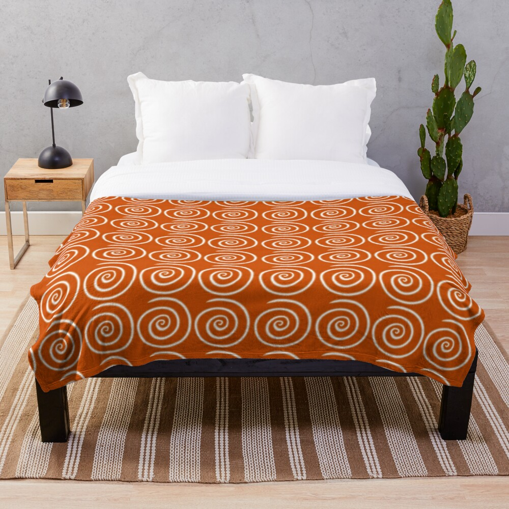 Orange Swirls Throw Blanket