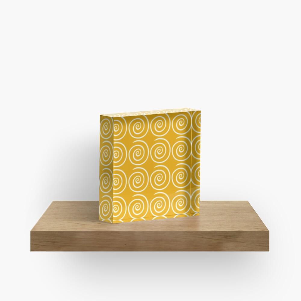 Yellow Swirls Acrylic Block