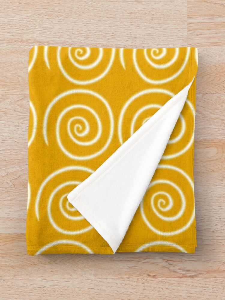 Alternate view of Yellow Swirls Throw Blanket