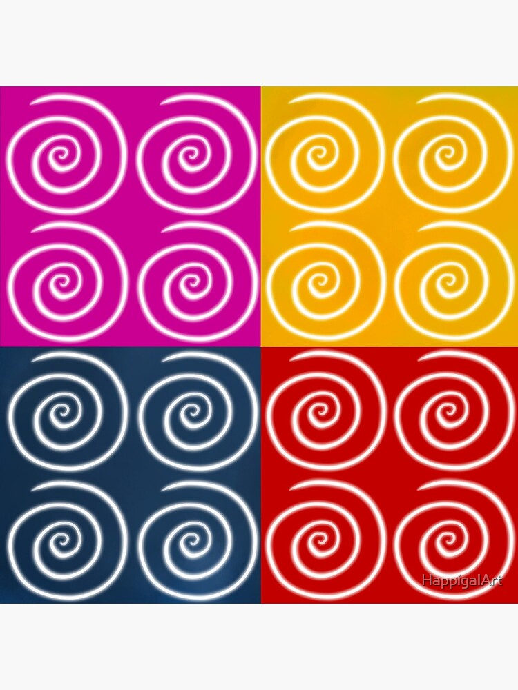 Four Squares of Swirls Pop by HappigalArt