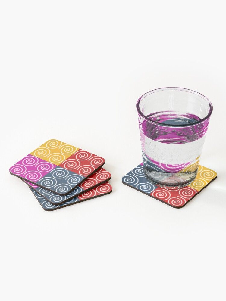 Alternate view of Four Squares of Swirls Pop Coasters (Set of 4)