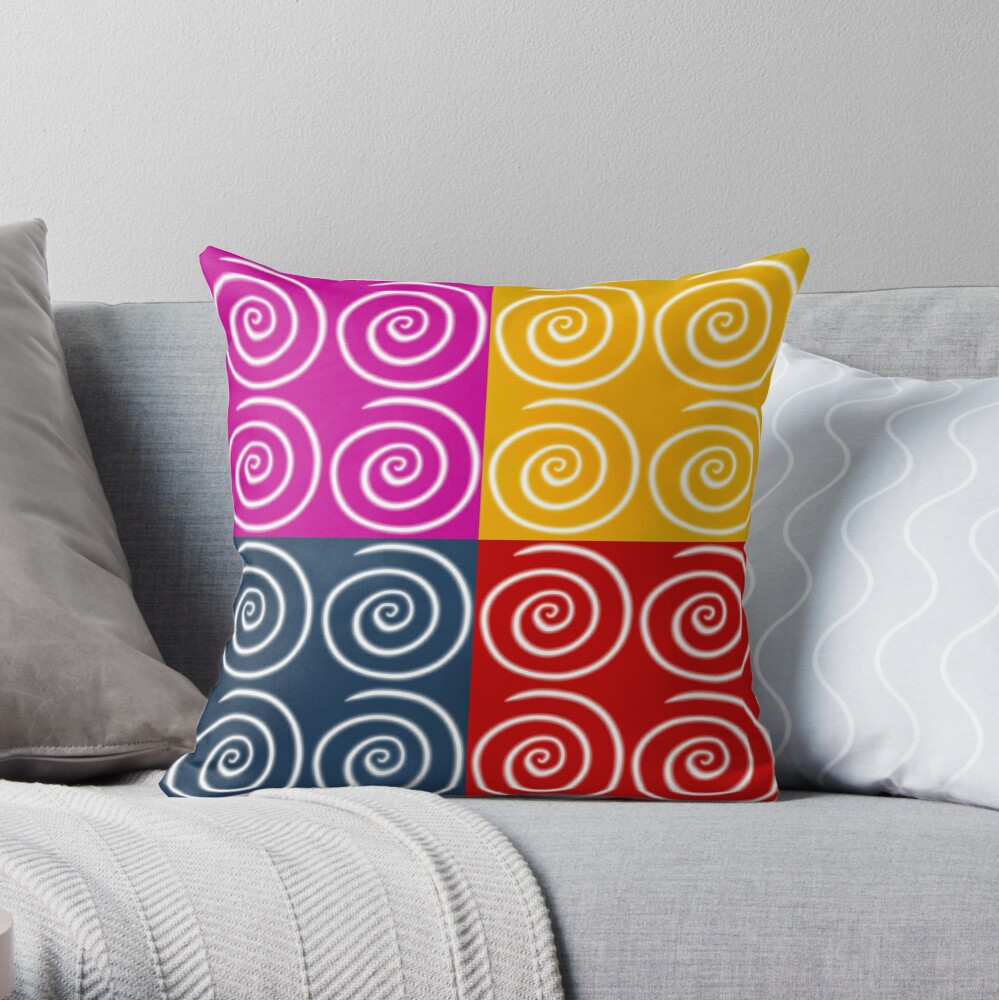 Four Squares of Swirls Pop Throw Pillow