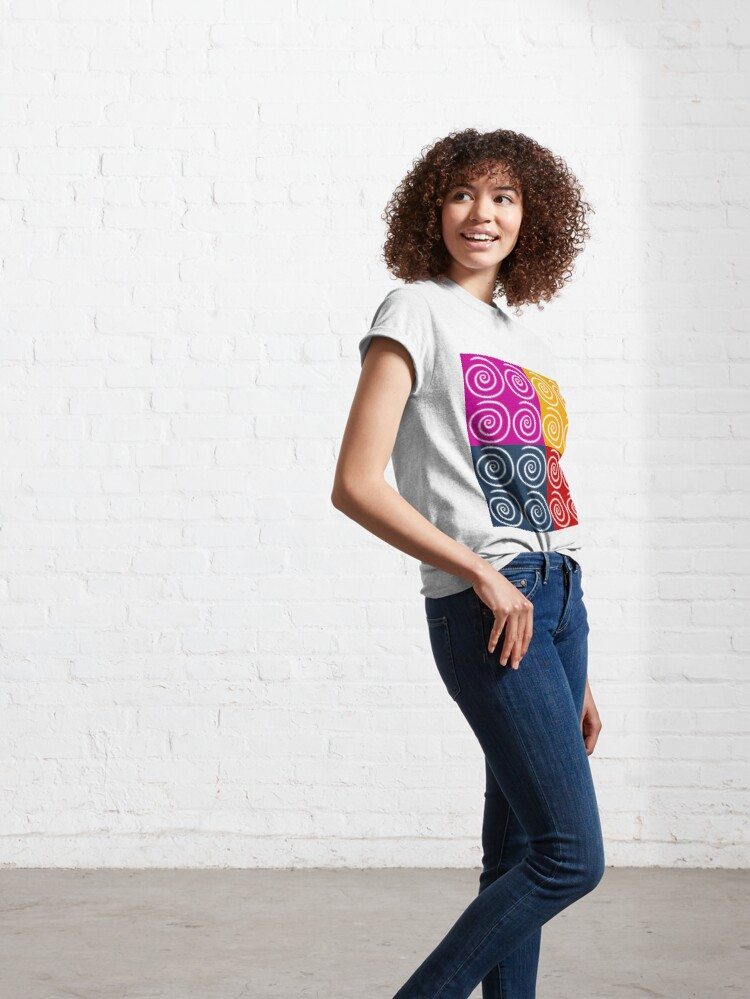 Alternate view of Four Squares of Swirls Pop Classic T-Shirt