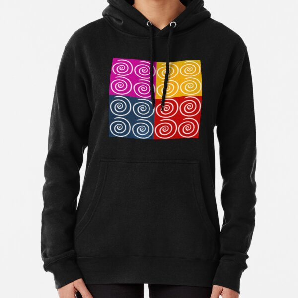 Four Squares of Swirls Pop Pullover Hoodie